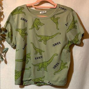 Cropped LG., dinosaur tee 100% cotton